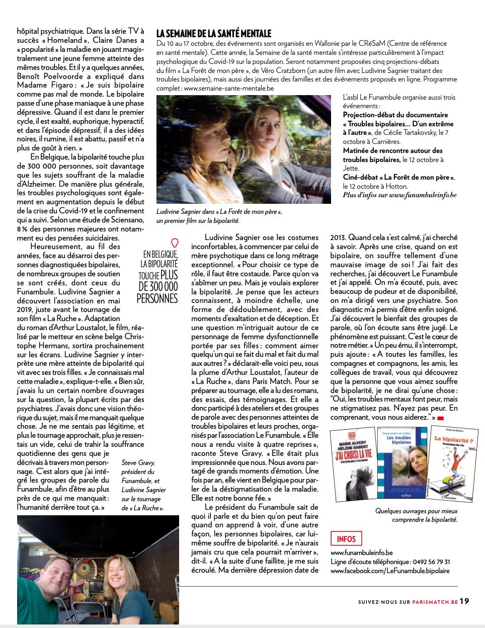 Article de Paris Match sur Ludivine Sagnier et Le Funambule-2